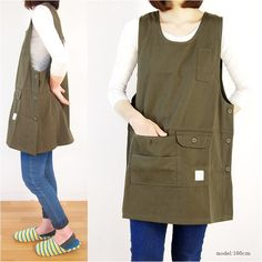 I like this awesome photo sewingpillows - Her Crochet Sewing Aprons, Sewing Clothes, Diy Clothes, Japanese Apron, Japanese Sewing Patterns, Pinafore Apron, Iranian Women Fashion, Cute Aprons, Linen Apron