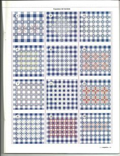 ✿✿Mila Artes Manuales✿✿: BORDADO ESPAÑOL PARTE SEIS Embroidery Techniques, Embroidery Stitches, Sewing Stitches, Diy Embroidery, Embroidery Patterns, Swedish Weaving, Chain Stitch, Gingham Fabric, Blackwork