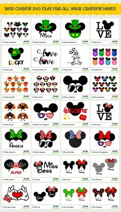 Disney SVG cut files for Cricut projects and Silhouette projects - my sister in law uses these to make personalized Disney shirts for the kids for each holiday - the kids love it . Fuentes Disney, Design Mandala, Disney Shirts For Family, Disney Diy Shirts, Matching Disney Shirts, Crafts For Teens To Make, Silhouette Cameo Projects, Kids Silhouette, Cricut Tutorials