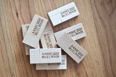 Laser engraved wooden flash drives for photography studio