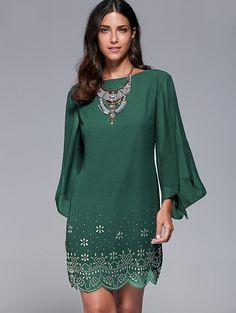 Rhinestone Chiffon Bell Sleeve Dress in Blackish Green | Sammydress.com