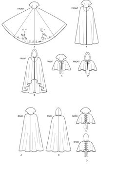 Sewing Hacks, Sewing Crafts, Cloak Pattern, Kleidung Design, Coin Couture, Simplicity Sewing Patterns, Fashion Design Drawings, Drawing Clothes, Sew Ins