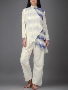 Ivory-Blue Ikat Mandarin Collar Angrakha Khadi Cotton Kurta