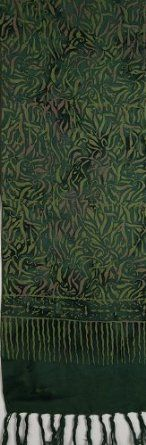 Batik Scarf - Green Bamboo Leaves on Dark Green Curious Designs. $8.99