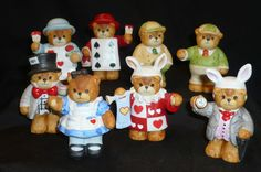 Eight Lucy and Me Bear Figurines - Alice in Wonderland Set