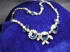 """Vintage and Gorgious 16"""" Sapphire Blue Rinestone Necklace (Kramer of New York). Rare find in such good condition."""