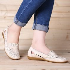 Women Soft Breathable Hollow Leather Round Toe Flat Loafers Shoes is cheap and comfortable. There are other cheap women flats and loafers online. Casual Leather Shoes, Leather Loafer Shoes, Loafer Flats, Black Flats Shoes, Buy Shoes, Flat Shoes, Shoes Sandals, Dress Shoes, Cheap Womens Shoes