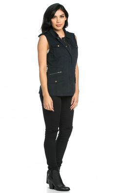 sleeveless utility vest in navy blue - Halloween Bullet Proof Vest