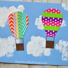 This colorful washi tape hot air balloon craft is perfect for a summer afternoon kid craft and is fun for kids of all ages.