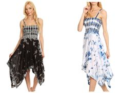 Sakkas dress features a unique two-tone tie dye pattern on  semi-opaque cotton. This sleeveless dress features a beautifully embroidered sequin design along the hem and on its comfortable, smocked  bodice. Spaghetti style straps are adjustable. This top features a  hi-low drape, with handkerchief style hem. It is lightweight and breathable.