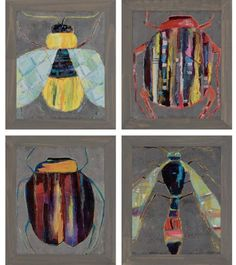 Here are a few bugs that you'll welcome into your home: the Paragon Decor Bugging Wall Art - Set of 4 . Each textured print of a colorful insect. Framed Art Sets, Wall Art Sets, Framed Wall Art, Painting Frames, Painting Prints, Canvas Prints, Wall Art Pictures, Art Auction, Auction Ideas