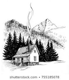 Cabin in the mountains. Black and white ink drawing – Buy this stock illustration and explore similar illustrations at Adobe Stock Cabin in the mountains. Black and white ink drawing White House Drawing, Black And White Drawing, Black And White Illustration, Mountain Sketch, Mountain Drawing, Landscape Pencil Drawings, Landscape Sketch, Cabin Tattoo, House Of Ink