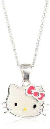 Hello Kitty Girl's Sterling Silver Pink Bow Pendant Necklace and Chain Hello Kitty. $24.99. Includes Hello Kitty gift box. Made in Dominican Republic