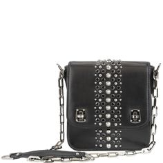 #MiuMiu shoulder bag from autumn winter 2013, in black with embellishments and chain. www.wunderl.com