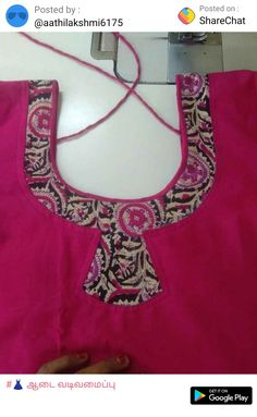 Chudithar Neck Designs, Churidhar Designs, Salwar Neck Designs, Neck Designs For Suits, Kurta Neck Design, Neckline Designs, Blouse Neck Designs, Kurti Sleeves Design, New Dress Pattern