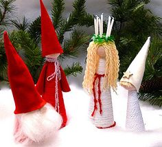 St. Lucy, Star Boy, Scandi-gnome and Tomte by gingerbread_snowflakes, via Flickr