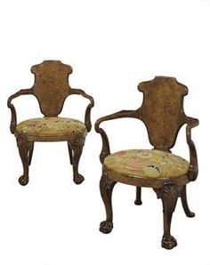 A pair of George IV yew-wood and elm shepherd's crook armchairs by Gillows, circa 1830 Georgian Furniture, Antique Furniture, Cabinet Makers, Armchairs, Beds, 18th, Furniture Design, Designers, Antiques