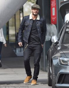 David Beckham goes for low-key look in flat cap and fringed moccasins 3beec059d57