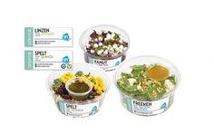 Albert Heijn >> the King of Salad Salad Packaging, Quinoa, Acai Bowl, Packaging Design, Avocado, King, Snacks, Logos, Chic