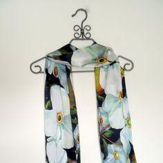 SALEWhite Anemone Japanese Flower Silk Satin Scarf