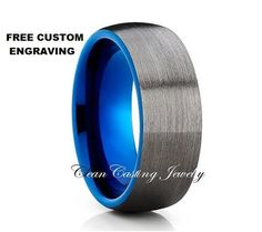Gunmetal Blue Tungsten Wedding Band,Tungsten Wedding Ring,Tungsten Carbide,Black…