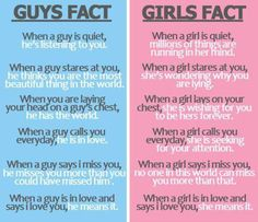 guys and girls facts :P love quotes