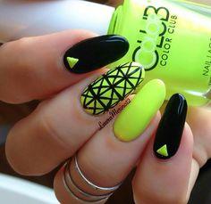 Neon yellow & black geometric nail art, Color Club polish