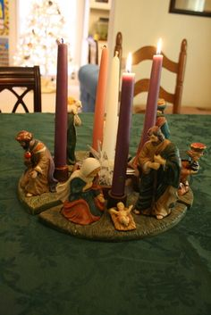 Advent Wreath #2 - hmmm - if I can find a nativity set at the dollar store