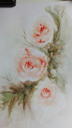 Rosas. Acuarela de Elena Draque