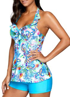 Printed Blue Open Back Padded Tankini Set Bathing Suit Shorts, Beach Attire, Vintage Swimsuits, Plus Size Swimsuits, Beachwear, Swimwear, Swim Dress, Cute Outfits, Buy Cheap