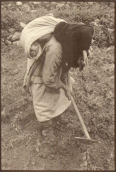 Woman working in the fields , Olympos village in Karpathos island Dodecanese, Greece Karpathos, Farm Life, Historical Photos, Egypt, Greece, Memories, Island, Black And White, Greek Woman