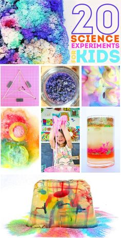 20 colorful and fun science experiments for kids. Many of these would be perfect for the science fair!
