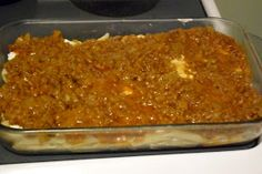 Living a Goddess Life: Heavenly Hamburger Casserole Recipe  Ingredients:  1 cup sour cream  3 ounces cream cheese  1 lbs hamburger  1/2 medium onion, finely chopped  8 ounces tomato sauce  8 ounces noodles (farfalle, penne, bowtie, etc)  1 tsp salt  1/2 cup cheddar cheese, grated  pepper