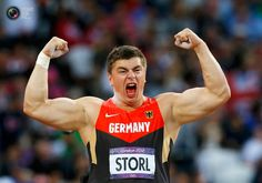 Day 7 - Germany's David Storl reacts after his throw in the men's shot put final at the London 2012 Olympic Games at the Olympic Stadium. PHIL NOBLE/REUTERS