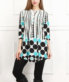 Reborn Collection Turquoise & Black Mod Dot Notch Neck Tunic - Women by Reborn Collection #zulily #zulilyfinds