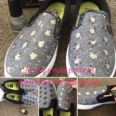 How to turn boring boys shoes to a pair of girlie slip ons ❤️ #kmartshoes #kmartkids #kmarthacks #diy #craft