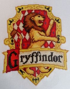 Gryffindor House Crest cross stitch chart, the original and best created by me. All other Houses will follow soon. Enjoy!