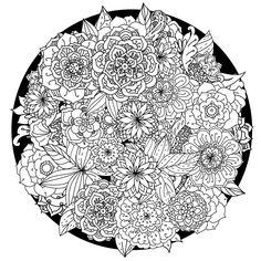 un dessin anti stress en forme de mandala aux motifs floraux complexes