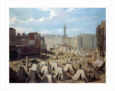 Encampment of troops on the Boulevard du Temple in june 1848 by Alexandre Josquin