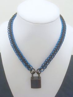 "1/2"" Black Blue Chainmail Collar Necklace - Fetish Kink Collar - Mens Womens Choker Collar - Sub Slave Locking Collar - Bondage Clothing by JohnsChainmailShop from John's Chainmail Shop. Find it now at http://ift.tt/2nIJjc6!"