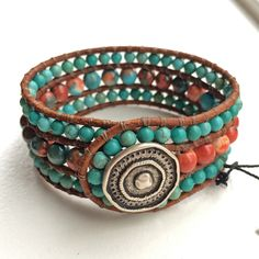 3 Row Boho Cuff Bracelet with Multi-Colored Stone and Turquoise Magnesite on Natural Brown Leather and Rustic Silver Button by BohoJewelryBoutique on Etsy