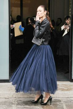 Olga Kurylenko in navy tulle skirt