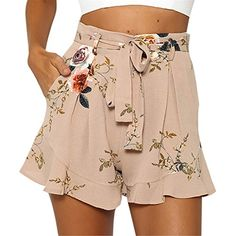 6827daa2bb Frozac Floral Printed Women Shorts High Waist with Belt Summer 2018 Short  Plus Size Casual Lady