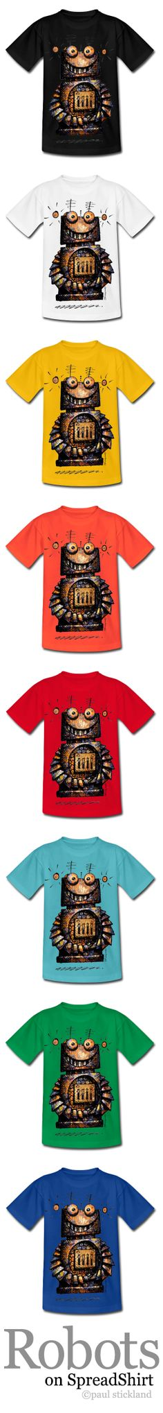★ StrangeStore on Spreadshirt! ★ Simple colourful kids and adult t shirts from StrangeStore by Paul Stickland Whoa! Loads of Little Robot T Shirts!  Can't resist all the colours!  #strangestore #robots #kids #fashion www.paulstickland.spreadshirt.co.uk