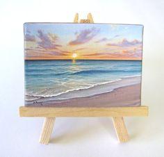 Ocean Sunrise Naples Florida Mini Painting by J. Mandrick - Ocean Sunrise Naples Florida Mini Painting by J. Small Canvas Art, Mini Canvas Art, Small Art, Mini Tela, Sunrise Painting, Mini Paintings, Painting Inspiration, Painting Prints, Watercolor Art