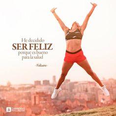 He decidido ser feliz porque es bueno para la salud Running, Bra, Sports, Frases, Quote Of The Day, Goals, Being Happy, Thoughts, Health