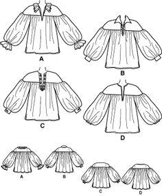 free men's medieval shirt pattern | 3519 UNISEX MEDIEVAL HISTORIC POET LS SHIRT PATTERN XS-XL