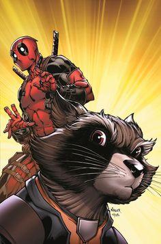#Deadpool #Fan #Art. (Rocket Raccoon & Groot #1 Deadpool Variant Cover) By:Todd Nauck. (THE * 3 * STÅR * ÅWARD OF: AW YEAH, IT'S MAJOR ÅWESOMENESS!!!™) [THANK U 4 PINNING!!!<·><]<©>ÅÅÅ+(OB4E)