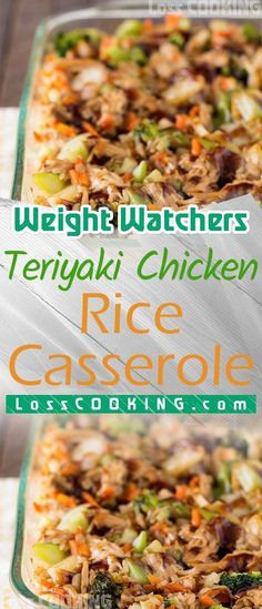 Weight Watchers Teriyaki Chicken & Rice Casserole This Teriyaki Chicken Cassero… Healthy Recipes On A Budget, Quick Healthy Meals, Fun Easy Recipes, Raw Food Recipes, Chicken Recipes, Healthy Food, Teriyaki Chicken Casserole, Teriyaki Chicken And Rice, Weight Watchers Snacks
