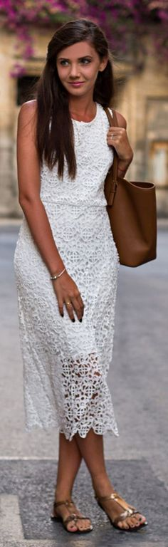 Sheinside White Lace Sleeveless Sheath Midi Dress- could be dressed up or down <3